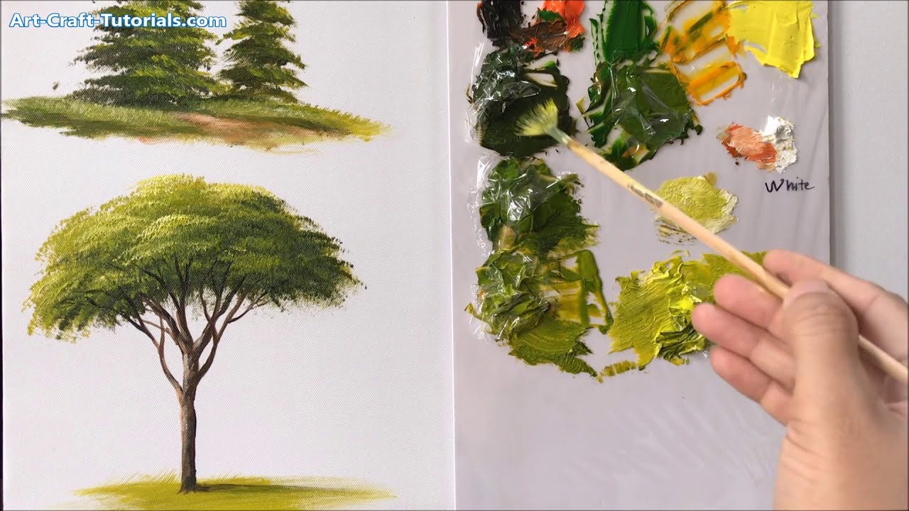 painting trees with a fan brush step by step by acrylic painting techniques