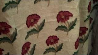 Roses Natural White Jute Crewel Fabric