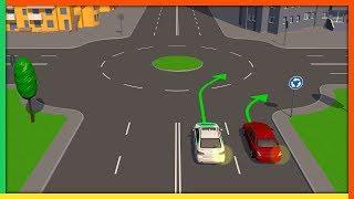 Проезд круговых перекрестков и подача сигналов