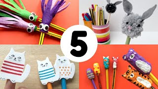 5 Pencil Toppers For Back To School - DIY Stationery Craft Ideas