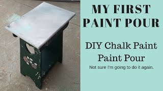 My First Paint Pour! {DIY Paint Pour With Chalk Paint On A Side Table} ~ Jessica Denyse ~ JD Decor