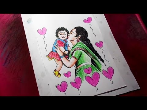 How to Draw Mother and Baby Drawing