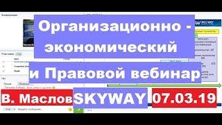 07.03.2019г. Организационно - экономический и правовой вебинар SkyWay. Вопросы и комментарии.