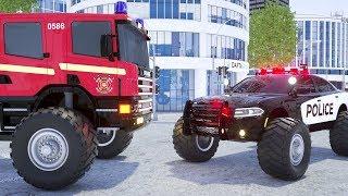 Fire Truck Frank, Sergeant Lucas the Police Car, Ambulance Change Tyres - Wheel City Heroes Cartoon