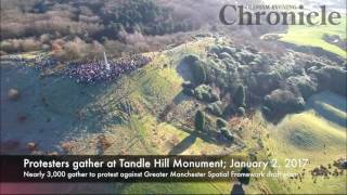 Protest against Greater Manchester Spatial Framework at Tandle Hill Monument