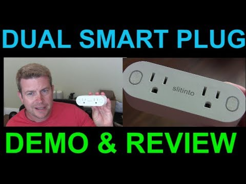 Dual Mini Wi Fi Outlet Smart Plug by SlitInto Alexa Google Home Assistant Demo Review