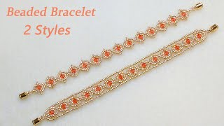 DIY Beaded Bracelet In Two Styles With Bicone Crystal Beads And Gold Seed Beads水晶串珠手链