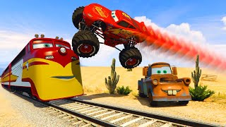 McQueen Monster Truck Mater Destructive Train Trev Diesel and Friends Cars Videos for kids & Songs