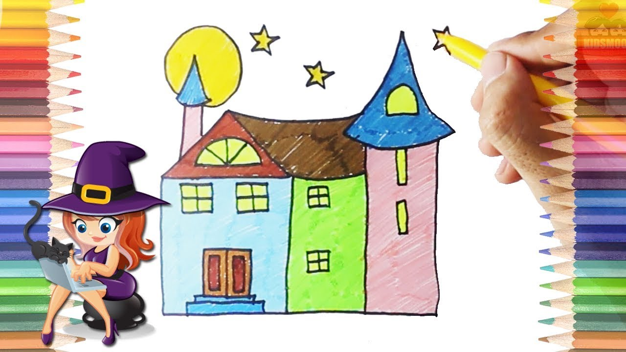 How to Draw and Color House of Witch Learn Coloring Pages for Baby Kids and Toddlers