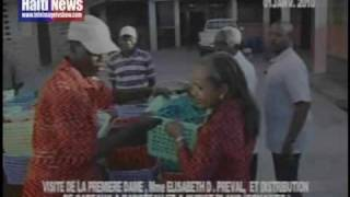 HAITI'S FIRST LADY ELISABETH PREVAL IN ACTION - GONAIVES