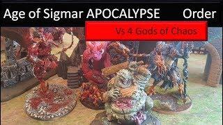 Warhammer Age of Sigmar Battle Report 4 Gods of Chaos vs Order Khorne Tzeentch Slaanesh Nurgle Storm