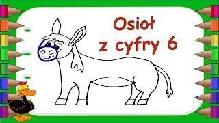 ????????????✏️Osioł kolorowanka Jak narysować osła z cyfry 6   Nauka rysowania dla dzieci