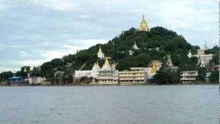 preview picture of video 'Sagaing from ferry on Ayeyarwady River'