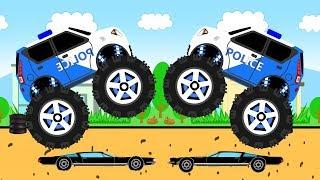 Новая серия мультфильма для детей про машинки. Полицейский монстр трак преследует черный автомобиль. Ловкая машинка спряталась за рекламный щит. Затем двигаясь на высокой скорости попал в аварию. В конце монстр траки устроят шоу круша