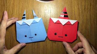 おりがみ 鬼の作り方 節分 origami Oni