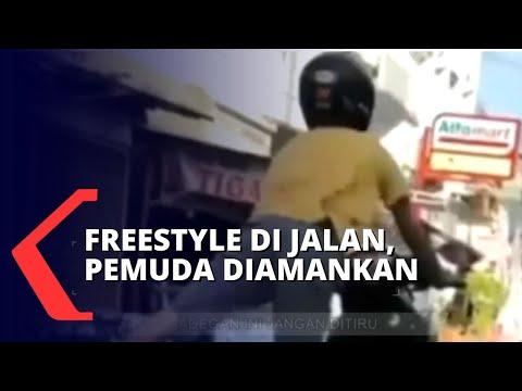 Polisi Amankan Pemuda yang Lakukan Fresstyle dengan Motor di Jalan
