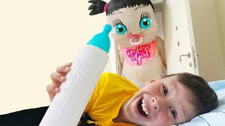 Ali and Adriana pretend play hide and seek with giant baby doll fun video for children - Video Youtube