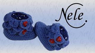 Babyschuhe häkeln - crocodile stitch - Schuppenmuster - Teil 2, DIY Anleitung by NeleC.
