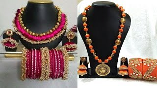 Latest Handmade Silk Thread Necklaces Set With Bangles Designs||Silk Thread Jewelry Set Ideas