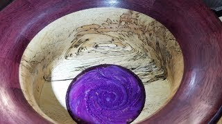 Woodturning a Bowl - Tamarind and Purpleheart, with Subscriber Art