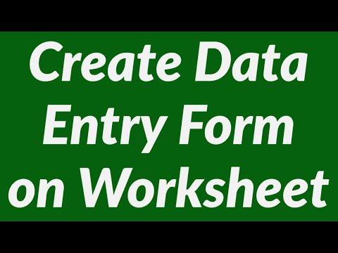 Create Data Entry Form on Worksheet