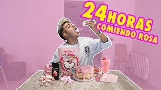 24 HORAS COMIENDO TODO ROSA!! DAY EATING PINK FOOD CHALLENGE [Logan G]