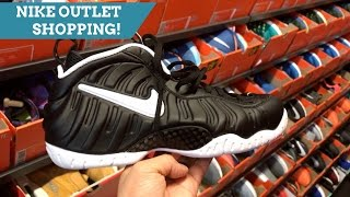 NIKE OUTLET SHOPPING FUN! JORDAN RETROS, FOAMS, & MORE