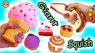 Giant Jumbo Squishy Food + Surprise Blind Bags Squish Dee Lish Shopkins Toys Haul