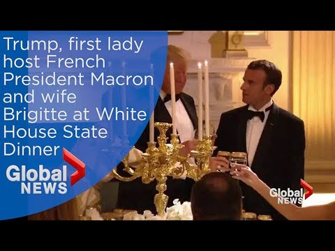 Trump, first lady toast French President Macron, wife Brigitte at White House State Dinner
