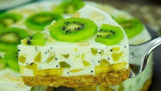 Восторг и море положительных эмоций - торт без выпечки, для любителей бананов и киви! | Appetitno.TV
