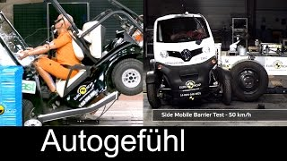 Micro Quadricycle vehicles crash test fail in Euro NCAP Golfcart/Renault Twizy