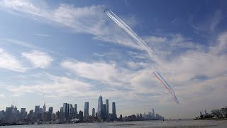 LIVE: Blue Angels and Thunderbirds fly over New York City to honor frontline workers.