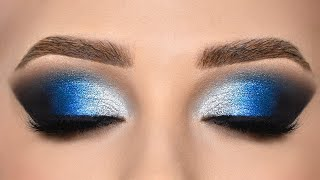 BLUE & SILVER Smokey Eye Makeup Tutorial