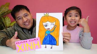 Bé Bún Hướng Dẫn Bố Vẽ Công Chúa Thật Đẹp - Draw princess the way children