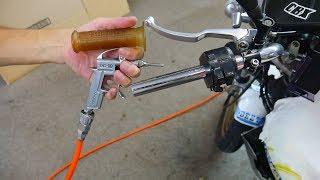 エアーコンプレッサーを使いバイクのハンドルグリップを取り外してみた オートバイ