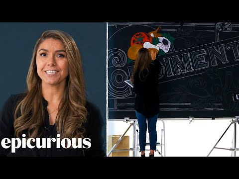 "Chalkboard artist behind the Epicurious ""Price Point Challenge"" backgrounds."