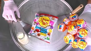 Chupa Chups Ice Cream Rolls | how to make Lollipops rolled Ice Cream with Lollipop | Satisfying ASMR