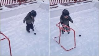 Toddler smartly moves goalpost to score a shot in ice hockey. Must-watch viral video