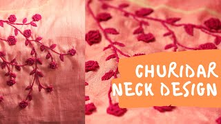Churidar Neck Design Malayalam | Kurti Embriodery Neck | Salwar Neck