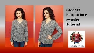 Crochet Hairpin Lace Sweater