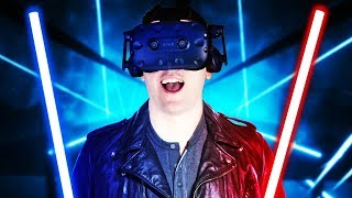 VIRTUAL REALITY LIGHTSABER RHYTHM!   Beat Saber Gameplay   VR HTC Vive Pro (Giveaway)