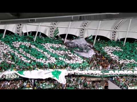 """Deportivo Cali (0) vs Nacional (0) (final 2013) - Salida a la cancha."" Barra: Frente Radical Verdiblanco • Club: Deportivo Cali"