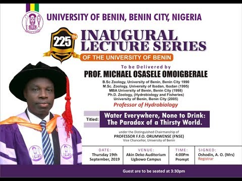 Watch Live: 225TH Inaugural Lecture Series of the University of Benin