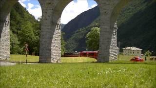 preview picture of video 'Rhätische Bahn - Berninabahn - Kreisviadukt von Brusio op 11-06-2013'
