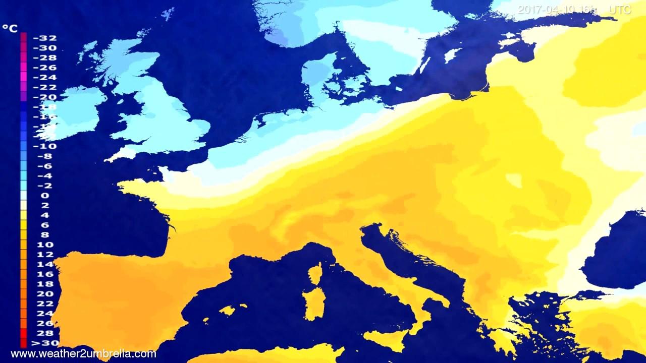 Temperature forecast Europe 2017-04-07