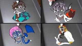 Demon Slayer Pancake Art - Akaza, Kyojuro Rengoku, Rui, Tanjiro Kamado