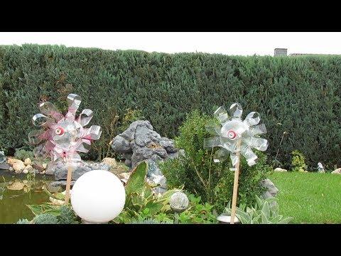 Dekoration für Garten selber machen . Windrad aus Plastikflasche .