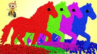 Learn Colors With Horse And Baby Fun Play With Surprise Color Balls For Kids | Colours With Animals
