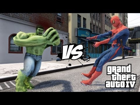 SPIDERMAN VS THE INCREDIBLE HULK - EPIC BATTLE - GTA IV - KjraGaming