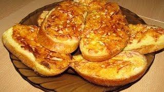 Смотреть онлайн Как сделать гренки из батона с сыром и яйцом